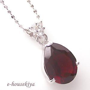 ホワイトゴールド 1月誕生石 ガーネット ダイヤモンドペンダントネックレス ネックレス ビジュー|e-housekiya