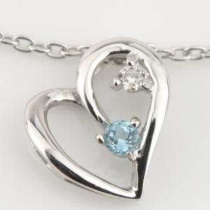 K10WG(10金ホワイトゴールド)/チタン  ブルートパーズ(11月の誕生石) ダイヤモンド ネックレス(耐金属アレルギーコーティング加工)|e-housekiya