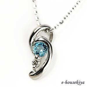 K18WG(ホワイトゴールド)ブルートパーズ ダイヤモンド ネックレス ペンダント 11月誕生石 ビジュー|e-housekiya