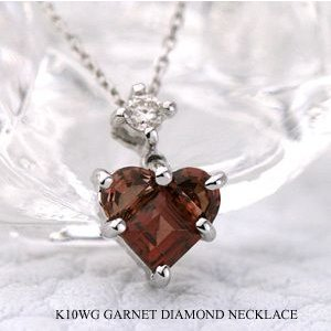 ガーネット ネックレス ダイヤモンド ネックレス K10WG(10金 ホワイトゴールド)(1月の誕生石) ビジュー|e-housekiya