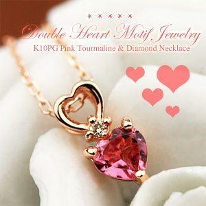 ピンクトルマリン ダイヤモンド ネックレス K10PG 10金ピンクゴールド 10月の誕生石 4月の誕生石 ビジュー|e-housekiya