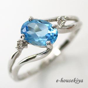 指輪 ホワイトゴールド ブルートパーズ リング 11月誕生石 大粒|e-housekiya