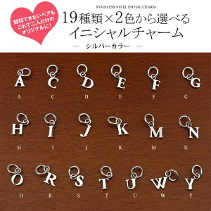 イニシャル チャーム サージカル ステンレス スチール (316L) オリジナル ペア ネックレス にできる アルファベット アクセサリー|e-housekiya|03
