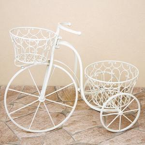 フラワースタンド アイアン製 三輪車 花台 ポット2点 簡単組立品 鉢置き 花置き台 アイアンプランタートライシクルクリーム ガーデンオブジェ|e-housemania