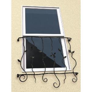 窓格子 面格子 ロートアイアン面格子(幅535mm) オリジナル アイアン壁飾り  窓手すり  エクステリア 防犯|e-housemania
