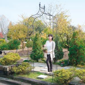 ガーデンアーチ ローズアーチ アイアン ブラック 幅1120×高さ2380×奥行355 組立式 DIY ベランダ ローズ 誘引 庭園 花壇 送料無料|e-housemania