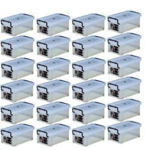 収納ボックス 収納ケース プラスチック製 タグボックス01 お買い得24個セット 透明(クリア) 収納箱で簡単整理 重ね置き可能|e-housemania