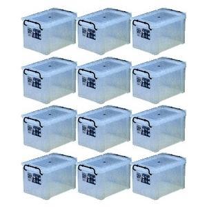 収納ボックス 収納ケース プラスチック製 タグボックス03 お買い得12個セット 透明(クリア) 収納箱で簡単整理 重ね置き可能|e-housemania