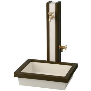 立水栓 水栓柱 ガーデニングアーバン立水栓 ウッド ダークブラウンセット プラグ付 水回り ガーデン水栓柱 DIY|e-housemania
