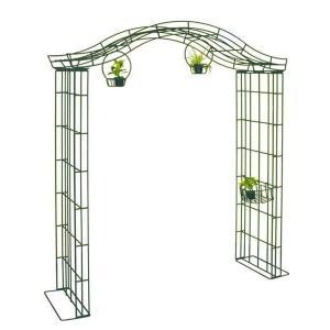 ガーデンアーチ ローズアーチ 高級 モスグリーン A・パーゴラ 幅2000×高さ2450×奥行600 手作り 異形棒鋼 ガーデニング 特注可能 送料無料|e-housemania