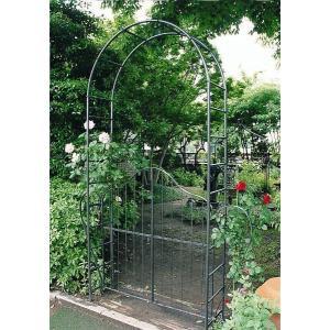 ガーデンアーチ門扉付1型 バラアーチ ガーデンファニチャー 園芸用品 つる植物・ばらの誘引|e-housemania