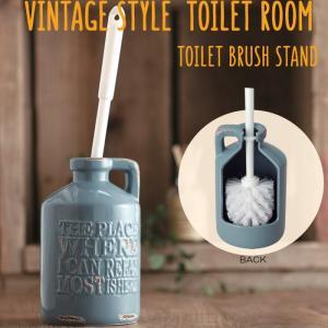 トイレブラシスタンド トイレブラシ付き ヴィンテージ ブルーグレー  陶器 トイレブラシ立て トイレ掃除 掃除用品 トイレ用品 トイレタリー|e-housemania