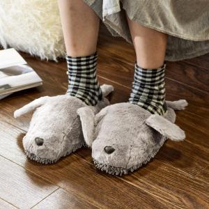モップスリッパ 洗える  ふわふわモップスリッパ(イヌ) 足のサイズ約23〜26cmに対応|e-housemania