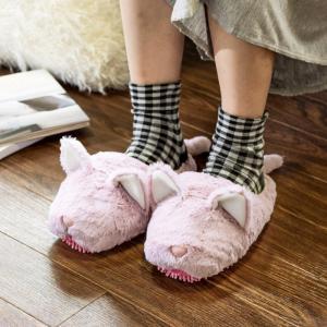 モップスリッパ 洗える  ふわふわモップスリッパ(ネコ) 足のサイズ約23〜26cmに対応|e-housemania