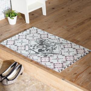 玄関マット 室内・屋内用 ふしぎの国のアリス インテリアマット(ラッパうさぎ)  約80×50cm 洗える玄関マット|e-housemania