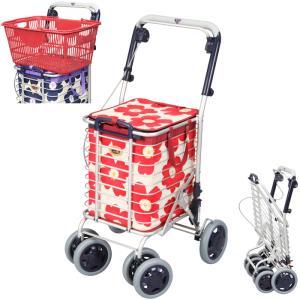 シルバーカー 手押し車 ブレーキ付きアルミワイヤーカー A-0245H 花柄赤 ユーバ産業 袋付き 折り畳み式 高齢者 敬老の日 贈り物|e-housemania