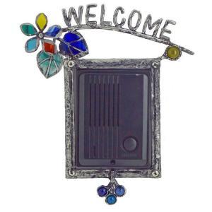 インターホンカバー ハンドメイド エストアオリジナル インターホンカバー カラフルフラワー 表札 装飾 エクステリア 手作り ガラス 簡単取り付け|e-housemania