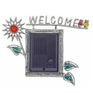 インターホンカバー ハンドメイド エストアオリジナル インターホンカバー 花とふくろう 表札 装飾 エクステリア 手作り ガラス 簡単取り付け|e-housemania