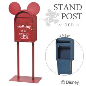 ポスト 郵便受け スタンドポスト スタンドタイプ ディズニー ヴィンテージミッキー レッド  南京錠付き  組立式 アルファベット 数字 文字シール付き|e-housemania