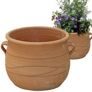 ギリシャ・クレタ島のテラコッタ製プランター・植木鉢は、通気性に優れ、根に酸素を与え、植物が生育しやす...