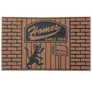 玄関マット 屋外用 アメリカン ブラウン 黒猫  エントランスマット 泥落とし マット|e-housemania