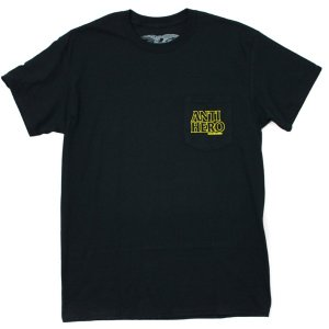 ANTI HERO ポケットTシャツ 黒  OUTLINE HERO POCKET TEE BLACK|e-issue