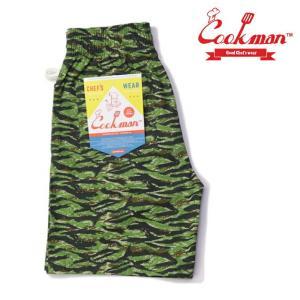 COOKMAN クックマン シェフショーツ Chef Pants Short Ripstop Camo Green (Tiger) (クックマン)(シェフパンツ)(シェフショーツ)|e-issue
