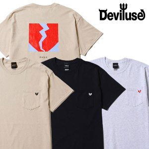 Deviluse ポケット Tシャツ Flame Heart Pocket デビルユース|e-issue