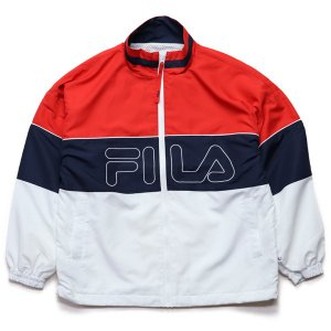FILA ナイロンジャケット  赤xネイビーx白  (フィラ)(FM9699)|e-issue