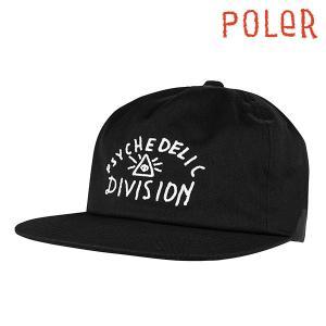 POLeR CAP PSYCH DIVISION HAT Black ポーラー キャップ 黒 帽子|e-issue