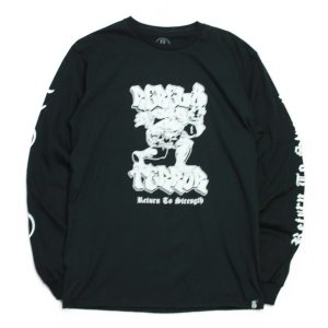 REBEL8 x TERROR  ロンTEE  RETURN TO STRENGTH LS TEE 黒  (REBEL EIGHT)(マイクジャイアント)|e-issue