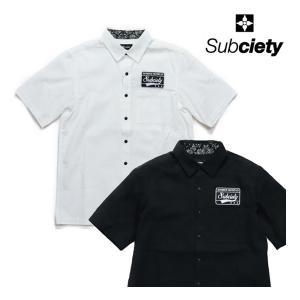 SUBCIETY 半そでシャツ EMBLEM SHIRT PLAIN  2色 黒・白 サブサエティー|e-issue