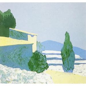 ロジェ・ミュール「南仏グラス風景」リトグラフ 巨匠の絵画|e-kakejiku