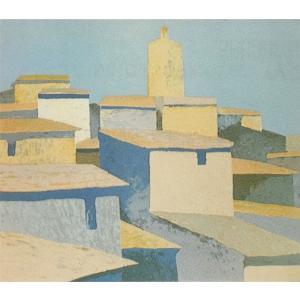 ロジェ・ミュール「南仏ムージャンの村」リトグラフ 巨匠の絵画|e-kakejiku