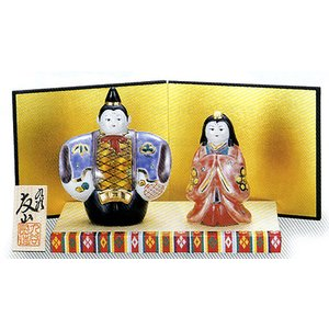 「4号雛人形」 青九谷(台・屏風・立札付き) おひなさま|e-kakejiku