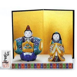 「4号雛人形」 青九谷(台・屏風・立札付き) おひなさま掛軸|e-kakejiku