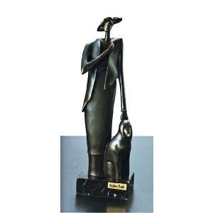 陶彫刻・犬と婦人A|e-kakejiku