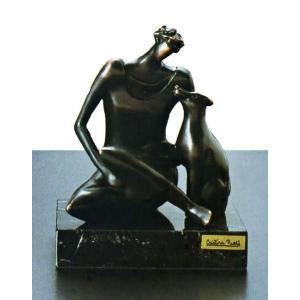 陶彫刻・犬と婦人C|e-kakejiku
