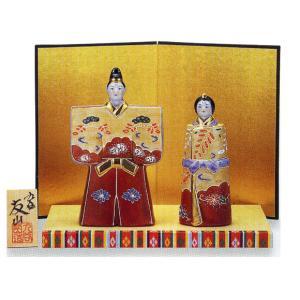 九谷焼 「5.5号雛人形」 盛(台・屏風・立札付き) おひなさま|e-kakejiku