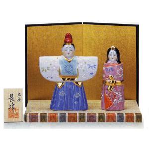 九谷焼 「4.5号雛人形」 白盛(台・屏風・立札付き) おひなさま|e-kakejiku