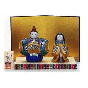 九谷焼 「4号雛人形」 青九谷(台・屏風・立札付き) おひなさま|e-kakejiku