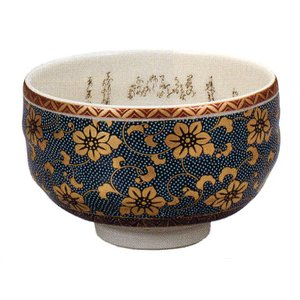九谷焼 「青粒鉄仙」抹茶碗|e-kakejiku