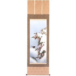 掛け軸 「雪中南天」松橋玉昇作 冬の掛軸|e-kakejiku