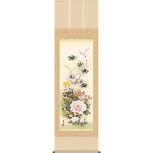 掛け軸 名花繚乱 吉井蘭月作 掛軸 モダン インテリア|e-kakejiku