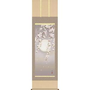 掛け軸 夜桜 緒方葉水作 掛軸 モダン インテリア|e-kakejiku