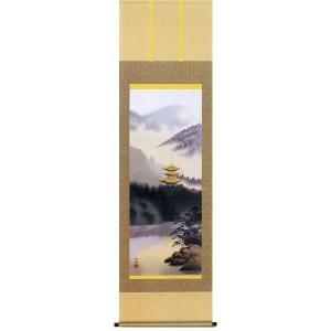 掛け軸 「古都憧景」瀬田功舟作(彩色山水 掛軸)|e-kakejiku
