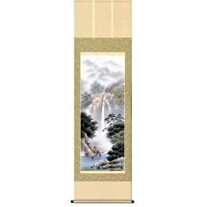 掛け軸 「幽山渓谷」 鈴村秀山作/山水画/景色/彩色/水墨/【送料無料】|e-kakejiku