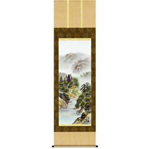 掛け軸 「緑風水明」伊藤渓山作(彩色山水 掛軸)|e-kakejiku