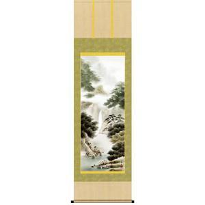 掛け軸 「悠景彩還」鈴村秀山作(彩色山水 掛軸)|e-kakejiku