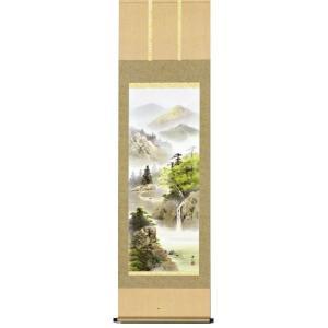 掛け軸 「緑風水明」 伊藤渓山作/山水画/景色/彩色/水墨/【送料無料】|e-kakejiku